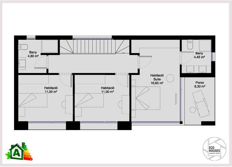 Dise o de casas rectangulares de dos pisos of casa de for Casas rectangulares